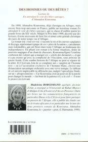 Des Hommes Ou Des Betes ; Lecture De En Attendant Le Vote Des Betes Sauvages D'Ahmadou Kourouma - 4ème de couverture - Format classique