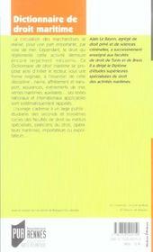 Dictionnaire De Droit Maritime - 4ème de couverture - Format classique