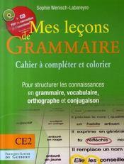 Mes leçons de grammaire ; ce2 ; cahier+cd - Intérieur - Format classique