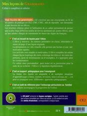 Mes leçons de grammaire ; ce2 ; cahier+cd - 4ème de couverture - Format classique
