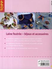 Laine feutrée ; bijoux et accessoires - 4ème de couverture - Format classique