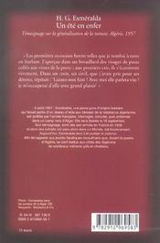 Un Ete En Enfer ; Barbarie A La Francaise, Temoignage Sur La Generalisation De La Torture, Algerie 1957 - 4ème de couverture - Format classique