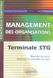 Controle Continu ; Management Des Organisations ; Terminale Stg - Couverture - Format classique