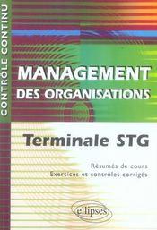 Controle Continu ; Management Des Organisations ; Terminale Stg - Intérieur - Format classique