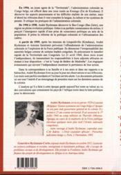 Andre Ryckmans Un Territorial Du Congo Belge. Lettres - 4ème de couverture - Format classique