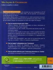 Mes leçons de grammaire ; cm1 ; cahier+cd - 4ème de couverture - Format classique