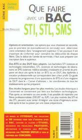Que Faire Avec Un Bac Sti Stl Sms - 4ème de couverture - Format classique