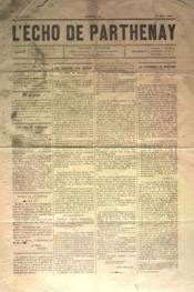 Echo De Parthenay (L') N°21 du 23/05/1880 - Couverture - Format classique
