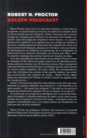 Golden holocaust ; la conspirationdes industriels du tabac - 4ème de couverture - Format classique