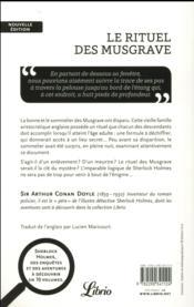 Sherlock Holmes ; le rituel des Musgrave ; trois autres récits - 4ème de couverture - Format classique