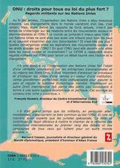 Onu : Droits Pour Tous Ou Loi Du Plus Fort ? - 4ème de couverture - Format classique