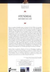 Stendhal historien de l'art - 4ème de couverture - Format classique