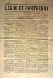 Echo De Parthenay (L') N°22 du 30/05/1880 - Couverture - Format classique