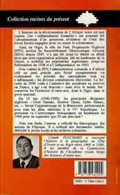 Le Ppn/Rda Et La Decolonisation Du Niger, 1946-1960 - 4ème de couverture - Format classique