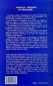Parole, Regard Et Psychose - 4ème de couverture - Format classique