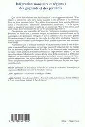 Integration Monetaire Et Regions ; Des Gagnants Et Des Perdants - 4ème de couverture - Format classique
