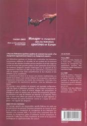 Manager Le Changement Dans Les Federations Sportives En Europe - 4ème de couverture - Format classique