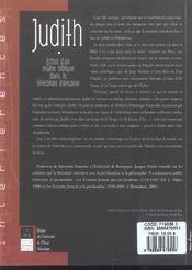 Judith : Echos D Un Mythe Biblique Dans La Litterature Francaise - 4ème de couverture - Format classique