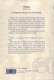 Le siege de Paris par les normands (885-892) - 4ème de couverture - Format classique