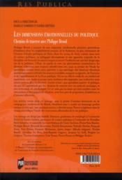Les dimensions émotionnelles du politique ; chemins de traverse avec Philippe Braud - 4ème de couverture - Format classique