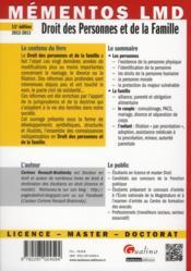 Droit des personnes et de la famille (11e édition) - 4ème de couverture - Format classique