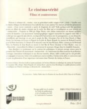 Le cinéma vérité ; films et controverses - 4ème de couverture - Format classique