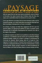 Paysage, Territoire D'Intentions - 4ème de couverture - Format classique