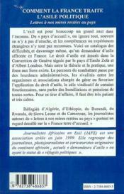 Comment La France Traite L'Asile Politique ; Lettres A Nos Meres Restees Au Pays - 4ème de couverture - Format classique