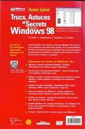 Doss.spe trucs windows 98 - 4ème de couverture - Format classique