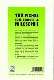 Cent fiches pour aborder la philosophie - 4ème de couverture - Format classique