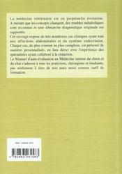 Medecine Interne Du Chien Et Du Chat Collection Manuel D Auto-Evaluation En Mede - 4ème de couverture - Format classique