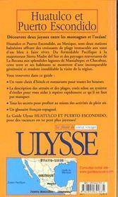 Guide Ulysse ; Huatulco Et Puerto Escondido ; Mexique - 4ème de couverture - Format classique