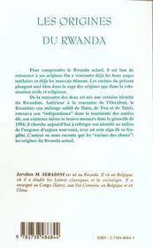Les Origines Du Rwanda - 4ème de couverture - Format classique