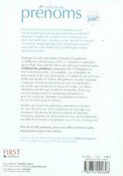 L'Officiel Des Prenoms 2007 - 4ème de couverture - Format classique