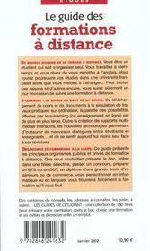 Le Guide Des Formations A Distance - 4ème de couverture - Format classique