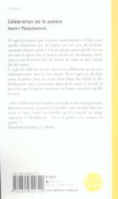 Celebration De La Poesie - 4ème de couverture - Format classique