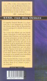515,0 rue des ormes - 4ème de couverture - Format classique