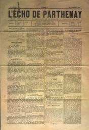 Echo De Parthenay (L') N°4 du 23/01/1881 - Couverture - Format classique