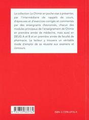 Chimie Generale Equilibres Chimiques Rappels De Cours Exercices Corriges - 4ème de couverture - Format classique