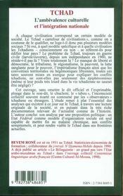Tchad ; L'Ambivalence Culturelle Et L'Integration Nationale - 4ème de couverture - Format classique