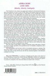 Aphra Behn 1640-1689 ; Identity Alterity Ambiguity - 4ème de couverture - Format classique