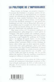 Politique De L'Impuissance (La) - 4ème de couverture - Format classique