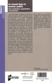 Travail dans le secteur public ; entre institutions, or - 4ème de couverture - Format classique