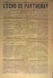 Echo De Parthenay (L') N°32 du 07/08/1881 - Couverture - Format classique