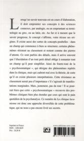 Revue La Clinique Lacanienne N.22 ; Psychosomatiques ? - 4ème de couverture - Format classique
