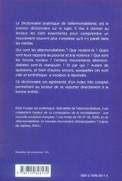 Dictionnaire analytique de l'altermondialisme - 4ème de couverture - Format classique