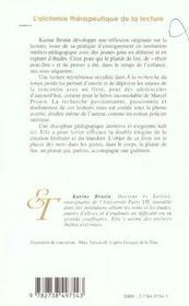 L'Alchimie Therapeutique De La Lecture ; Des Larmes Au Lire - 4ème de couverture - Format classique