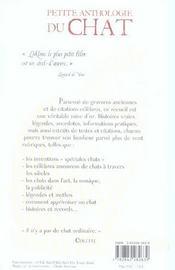 Petite Anthologie Du Chat - 4ème de couverture - Format classique