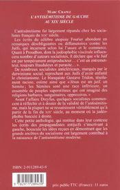 L Antisemitisme De Gauche Au Xixeme Siecle - 4ème de couverture - Format classique