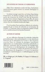 Situations De Travail Et Formation - 4ème de couverture - Format classique